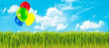 Spring grass and balloons Stock Photos