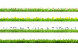 A spring grass with daisy and narcissus flowers stock illustration