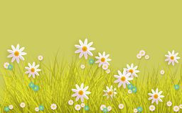 Spring grass and flowers border on green background with copy space. Horizontal banner for Easter greeting card and congratulation poster. Cartoon vector Royalty Free Stock Images