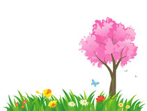 Spring grass. Illustration of a spring scene with a pink tree Stock Image