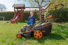 Spring grass mowing. Royalty Free Stock Photography