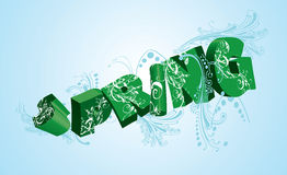 Spring Green 3D Word On Blue. Vector Version Available Royalty Free Stock Photo