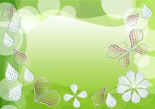 Spring green background with morphing dotted drops. Leafs, heart and butterfly stock illustration