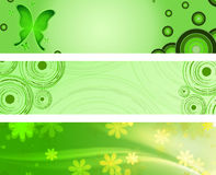 Spring green banners. Abstract circles, butterflies and flowers Stock Photo