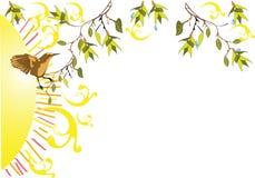 Spring green branches with a bird Royalty Free Stock Photos
