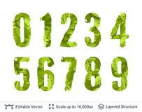 Spring green bright numbers set. stock illustration