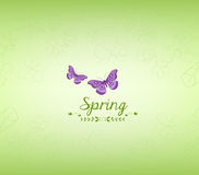 Spring green and butterfly background Stock Images
