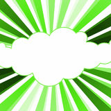 Spring Green Cloud Rays Greeting Card. Cloud with green rays welcome spring greeting card with space to write message inside the cloud royalty free illustration