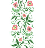 Spring green floral border. Springl seamless pattern on the white background royalty free illustration