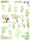 Spring green floral design elements Stock Photo