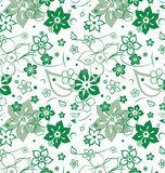 Spring green floral seamless. Spring seamlessl with licht- green flowers on a white background stock illustration