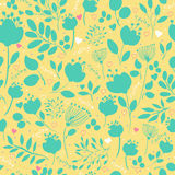Spring Green Flowers. Vector Seamless Pattern Stock Images