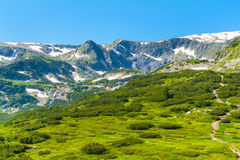 Spring green foliage and snow Mountains by Rila Lakes in Bulgaria Royalty Free Stock Images