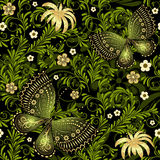 Spring green-gold seamless pattern Stock Image