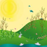 Spring Green gradient Landscape with flowers rabbit and stream. Vector illustration Stock Photography