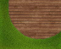Spring green grass over wood background Stock Images