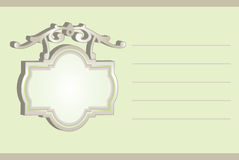 Spring green hanging sign memo invitation. Vector of wrought sign with memo lines Stock Photos