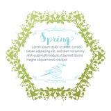 Spring green hexagonal frame. Royalty Free Stock Images