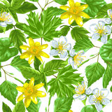 Spring green leaves and flowers. Seamless pattern with plants, twig, bud.  vector illustration