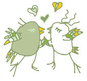 Spring green love postcard with birds. Colored hand drawn spring illustration available in  format Royalty Free Stock Photography