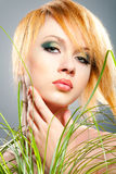 Spring green makeup. Fashion woman with green makeup Royalty Free Stock Image