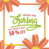 Spring green and orange flower frame 50 percent off heading desi Royalty Free Stock Photography