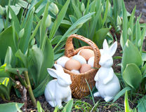 Spring green tulips with easter bunny and eggs Stock Photography