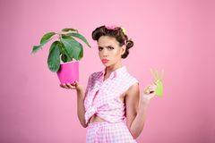 Spring. greenhouse worker or gardener. pinup girl with fashion hair. retro woman growing plants. Garden. pin up woman. With trendy makeup. pretty girl in stock photo