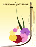 Spring greeting card. Greeting card with colourful flowers Stock Photos