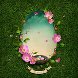 Spring  greeting  card. Greeting card with spring green background with flowers and nest.  Computer graphics Stock Photos