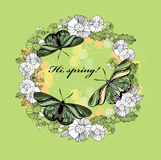 Spring greeting card. Hand drawn flower, butterfly wreath with t Royalty Free Stock Photography