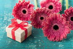 Spring greeting card on mother or womans day from fresh vibrant gerbera daisy flowers and gift or present on wooden table. Royalty Free Stock Photography