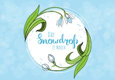 Spring greeting card with snowdrop day. Vector illustration Stock Photos