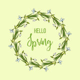 Spring greeting card with snowdrops flower wreath Stock Photography