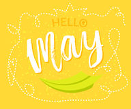 Spring greetings to the month of May design in yellow background with paper origami plane was drawing to a seasonal marketing prom Royalty Free Stock Photography