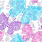 Spring grunge seamless floral white pattern Stock Photo