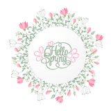 Spring Hand Draw Round Frame with Gentle Pink Flowers, leaves and herbs Stock Photography