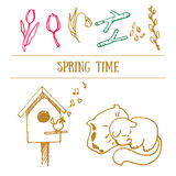 Spring Hand Drawn Contour Doodles, Vector Illustration Royalty Free Stock Photography