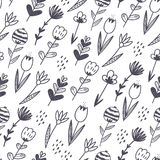 Spring hand drawn floral and abstract elements. Stock Photo
