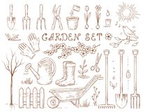 Spring hand drawn garden tools set. Spring hand drawn garden set of isolated tools and gardening equipment Royalty Free Stock Photos