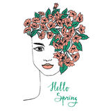 Spring hand drawn girl with flower hair. Royalty Free Stock Photo