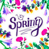 Spring -  hand drawn lettering. Greeting typography with watercolor flowers. Vector typography design element for greeting cards, posters and print invitations Royalty Free Stock Photo