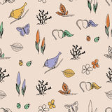 Spring hand drawn seamless pattern. Hello Spring hand drawn seamless pattern Stock Photos