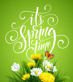 Spring Hand Lettering on background with flowers. Vector illustration. EPS10 Stock Illustration