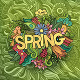 Spring hand lettering and doodles elements Stock Photography