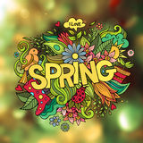 Spring hand lettering and doodles elements Royalty Free Stock Photography