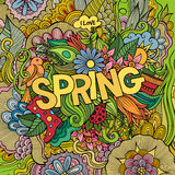 Spring hand lettering and doodles elements Royalty Free Stock Photos