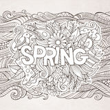 Spring hand lettering and doodles elements Stock Photo