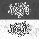Spring hand lettering - handmade calligraphy, Royalty Free Stock Photo