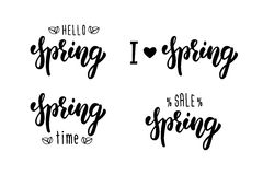 Spring hand lettering set. Summer typographic and calligraphic set. Spring logos and emblems. Vector. Illustration royalty free illustration